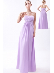 Lavender Empire Strapless Floor-length Chiffon Embroidery Bridesmaid Dress