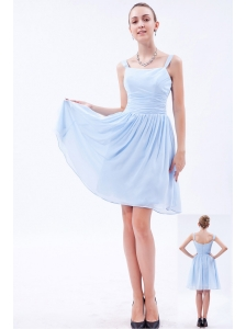 Baby Blue Empire Straps Knee-length Chiffon Ruch Bridesmaid Dress
