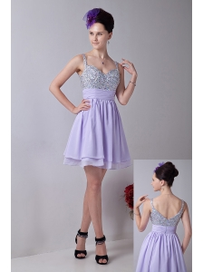 Lilac Empire Straps Mini-length Chiffon Beading Prom / Homecoming Dress