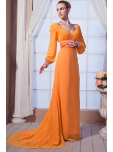 Light Orange Empire V-neck Brush Train Chiffon Beading and Ruch Mother Of The Bride Dress