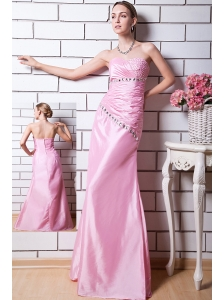 Rose Pink Column Sweetheart Prom Dress Taffeta Beading Floor-length