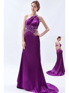 Eggplant Purple Column / Sheath One Shoulder Celebrity Dress Beading Brush Train Satin