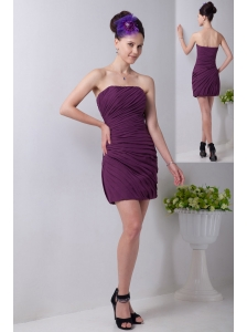 Purple Column Strapless Mini-length Chiffon Ruch Bridesmaid Dress