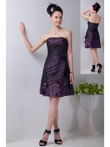 Purple Column Strapless Mini-length Taffeta Hand Made Flowers Bridesmaid Dress