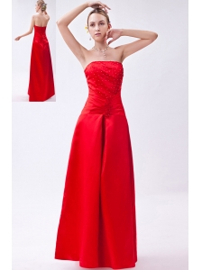 Red Column Strapless Floor-length Taffeta Beading Homecoming Dress