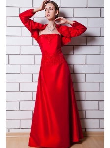 Red Column Strapless Floor-length Taffeta Beading Mother Of The Bride Dress