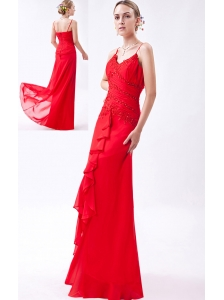 Red Column Straps Floor-length Chiffon Beading Homecoming Dress