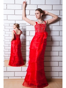 Red Column Straps Prom Dress  Organza Beading Floor-length