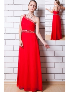 Red Empire One Shoulder Floor-length Chiffon Beading Homecoming Dress