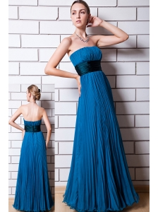 Blue Empire Strapless Prom Dress Chiffon Ruch Floor-length
