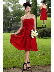 Red Empire Sweetheart Knee-length Chiffon Ruch Bridesmaid Dress