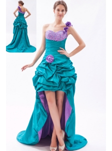 Teal and Lavender A-line One Shoulder Prom Dress High-low Taffeta Beading and Handle-Made Flower