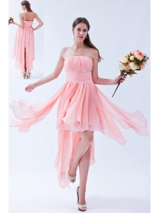 Watermelon Empire Strapless Prom Dress Asymmetrical Chiffon Beading