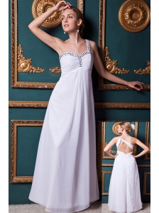White Empire One Shoulder Floor-length Chiffon Beading Homecoming Dress