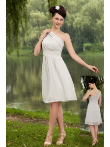 Grey Empire One Shoulder Knee-length Chiffon Bridesmaid Dress