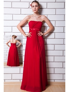 Wine Red Empire Chiffon Ruch Bridesmaid Dress Strapless Floor-length