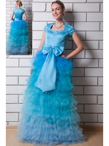 Aqua Blue Column Square Prom Dress Organza and Taffeta Beading Floor-length