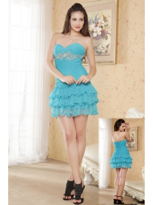 Teal Column Sweetheart Prom Dress Chiffon Ruch and Beading Mini-length