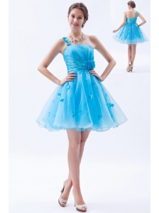 Baby Blue A-line / Princess rom /  Homecoming / Cocktail Dress One Shoulder Appliques Mini-length Organza