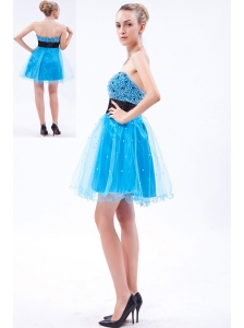 Sky Blue A-line Strapless Prom Dress Organza Beading Mini-length