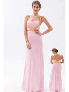 Baby Pink Column / Sheath Straps Prom Dress Chiffon Sequins Floor-length