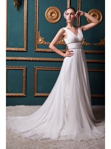 Beautiful A-line V-neck Brush Train Organza Beading Wedding Dress