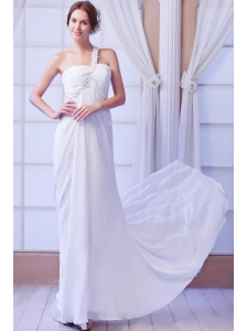 Beautiful Empire One Shoulder Court Train Chiffon Beading Wedding Dress