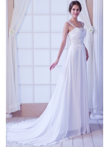 Beautiful Empire Straps Court Train Chiffon Beading Wedding Dress