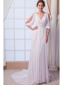 Beautiful Empire V-neck Court Train Chiffon Beading Wedding Dress