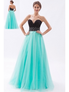 Black and Turquoise A-line Sweetheart Prom Dress Tulle Beading Floor-length