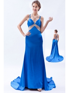 Royal Blue Column / Shearth Straps Prom Dress Taffeta Beading Brush Train