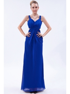 Royal Blue Empire Straps Prom Dress Chiffon Ruch Brush Train