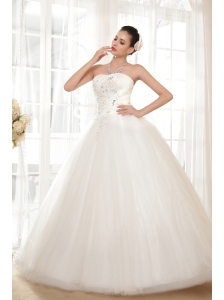 Brand New Ball Gown Strapless Floor-length Tulle Appliques Wedding Dress