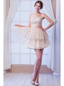 Champagne A-line Sweetheart Prom Dress Beading Satin and Organza Mini-length