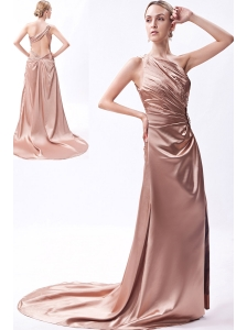 Brown Column One Shoulder Prom Dress Taffeta Beading Court Train