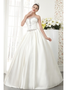 Elegant A-line / Princess Sweetheart Floor-length Satin Beading Wedding Dress