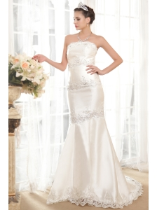 Exclusive Mermaid / Trumpet Wedding Dress Strapless Court Train Satin Beading