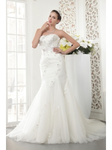 Exquisite Mermaid Strapless Court Train Tulle Beading Wedding Dress