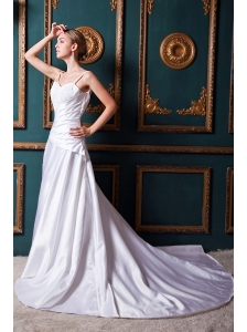 Formal A-line Straps Chapel Train Taffeta Beading Wedding Dress