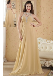 Gold Empire Scoop Prom Dress Chiffon Beading Floor-length