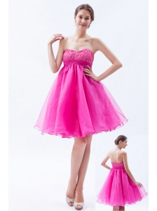Hot Pink A-line Sweetheart Prom / Cocktail Dress Organza Beading Mini-length