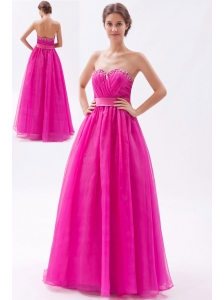 Hot Pink A-line Sweetheart Prom Dress Tulle Beading Floor-length