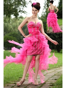Hot Pink Column Sweetheart High-low Prom / Homecoming Dress Organza Beading