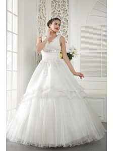 Ivory A-line V-neck Floor-length Organza Beading and Ruch Wedding Dress