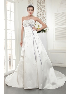Modern A-line / Princess Strapless Court Train Satin Beading Wedding Dress