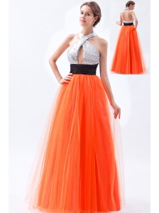 Orange Red Empire Halter Prom Dress Tulle and Sequin Floor-length