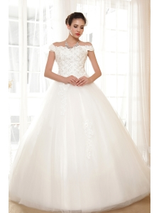 Perfect Ball Gown Off The Shoulder Floor-length Tulle Appliques Wedding Dress