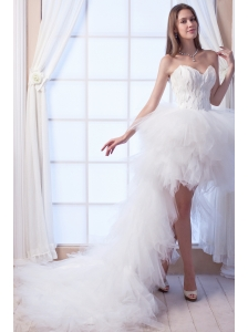 Popular A-line Sweetheart High-low Tulle Appliques Wedding Dress