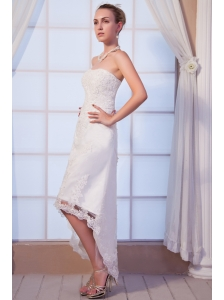 Popular Column Strapless High-low Satin Lace Wedding Dress