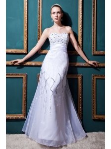 Pretty Column Sweetheart Floor-length Organza Beading  Wedding Dress